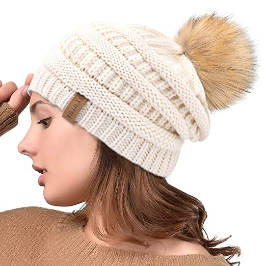 FURTALK Womens Winter Slouchy Knit Beanie Chunky Faux Fur Pom Poms Hat  Bobble Hat Ski Cap a5c1806accab