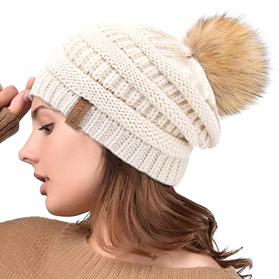 5f2fcc6d438 FURTALK Women s Thick Slouchy Real Fox Raccoon Fur Pom Pom Winter Knit  Beanie Bobble Hat Caps