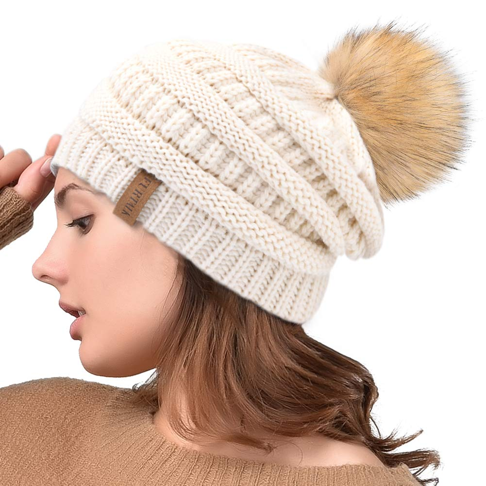 b653c719dac Winter Real Fur Pom Beanie Hat Warm Oversized Chunky Cable Knit Slouch  Beanie Hats for Women