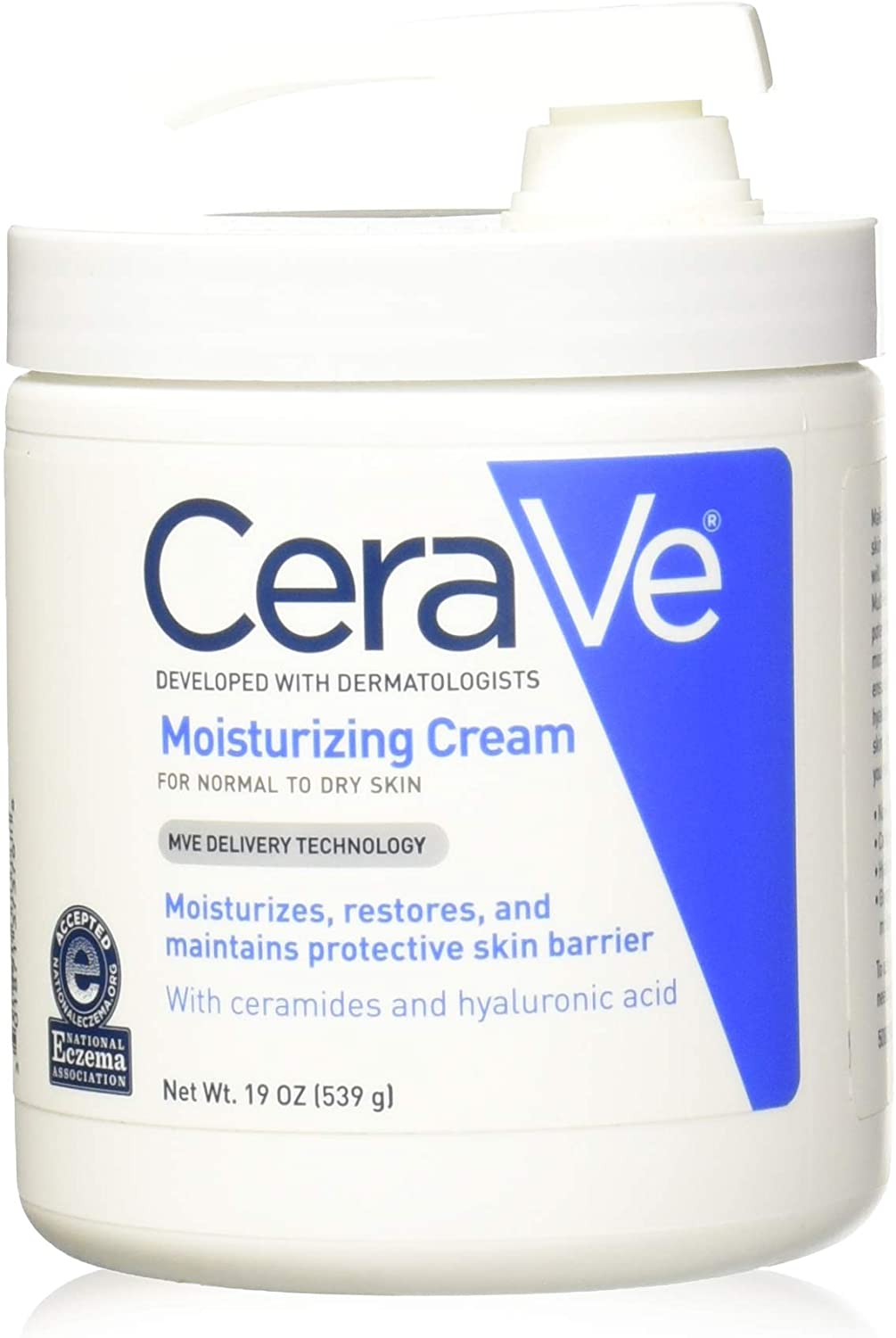 CeraVe Moisturizing Cream With Pump for Normal To Dry Skin, 19 Ounce