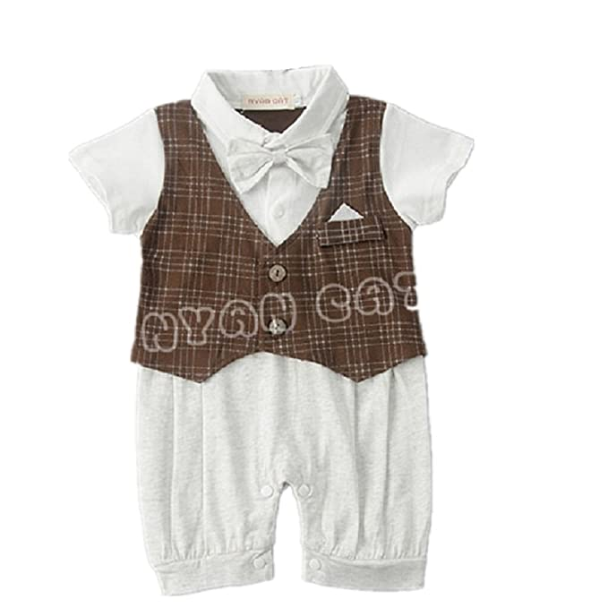 2d04d167a13f Hooyi Summer Baby Boy Tie Gentleman Khaki Jumpsuits Plaid Vest Rompers  Tuxedo (80(3