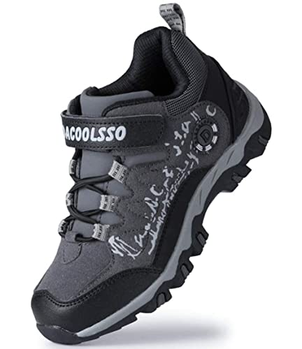 2a5f90d09fa3 DADAWEN Kids Waterproof Outdoor Hiking Athletic Sneakers Running Shoes  Gray Black US Size 2.5 M
