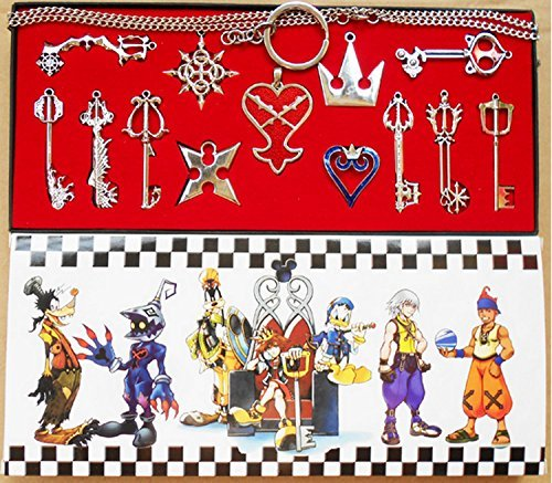 XCOSER® Kingdom Hearts Keyblade Sora Weapon Keychain Pendant for Collection Silver 13pcs