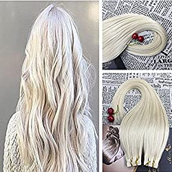Moresoo 18 Inch Color Platinum Blonde #60 100% Remy Human Hair Invisible Tape in Hair Extensions Seamless Skin Weft Hair Extensions 25g/10pcs Per Pack