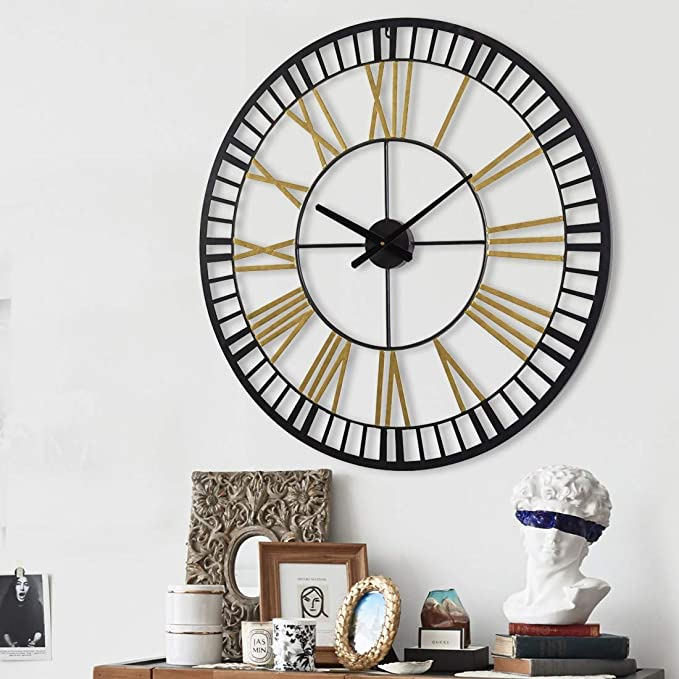 Amazon Com Gold Black 32 Inch Large Industrial Wall Clock With Roman Numberal For Living Room Decor Big Metal Clock Battery Operated Kitchen Dining