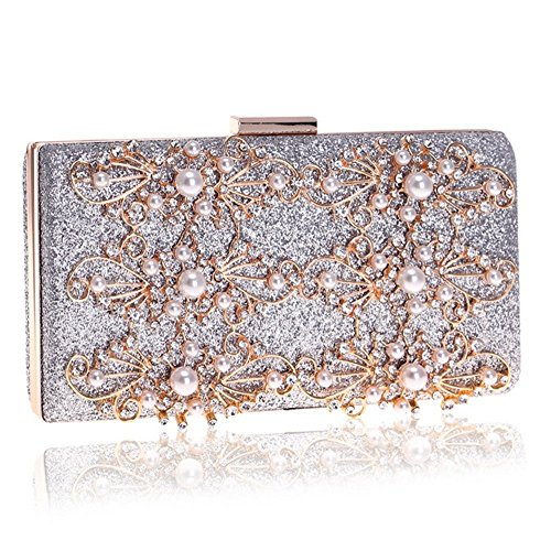 Purse dress Dinner Women Evening For encrusted Handbag Shoulder Silver Banquet Diamond Beaded Wedding bag Crossbody Bags Ladies Clutch Flower zawx5Zq