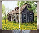 Ambesonne Wooden Decor Curtains, Old Barn Farmhouse Countryside Cottage House in Garden Rural Vintage Picture, Living Room Bedroom Window Drapes 2 Panel Set, 108W X 84L Inches, Brown Green