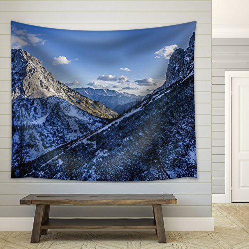 Wall26 winter landscape of mountain with snow in the blue sky fabric wall tapestry home decor 51x60 inches