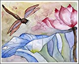 Pink Lotus Dragonfly Watercolor Painting Print Flower Wall Art Matted to 11x14