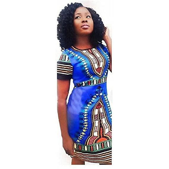 Koly Mujer Tradicional Imprimir africana dashiki bodycon vestido de manga corta (S, Azul)