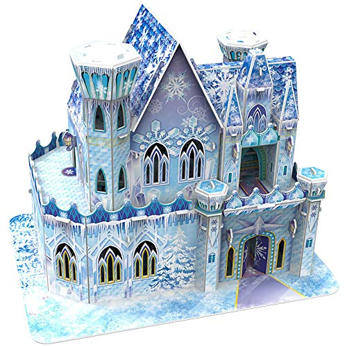 3D Model Castle Jigsaw Puzzle Magical Ice Palace, Birthday Gifts for Children, for Girl, for Boy, Toys for Family Games