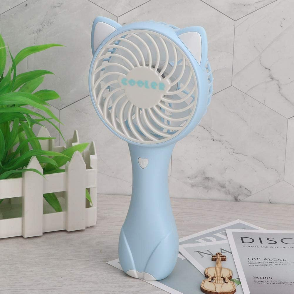 Zerone 1Pc Portable Handheld Mini Fan USB Rechargeable Wind Adjustable for Office Blue