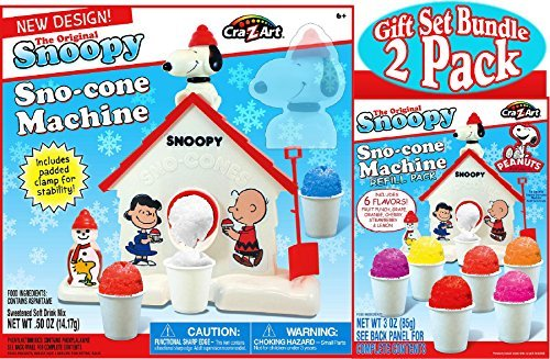 (Snoopy Original Sno-Cone (Snow Cone) Machine & Refill (3oz) Pack Gift Set Bundle - by Unknown)