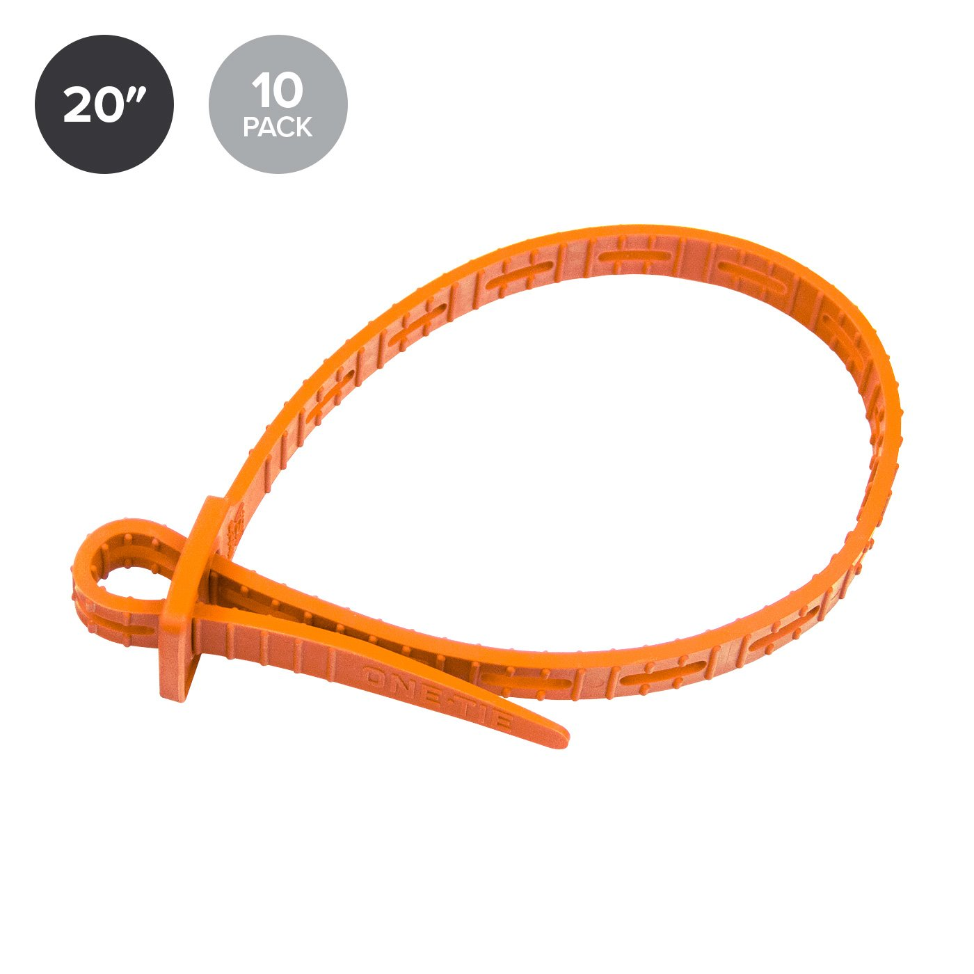 ONE-TIE Reusable Tie Strap, Orange, 20 inches, 10 Pack by ONE-TIE