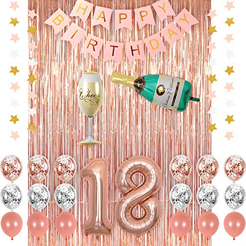 Rose Gold 18 Birthday Party Decorations Supplies, Champagne Balloon, Pink Happy Birthday Banner, 18 Balloons,Rose Gold Foil Fringe Curtains,Confetti Balloons for 18th Birthday Decorations for Her ()