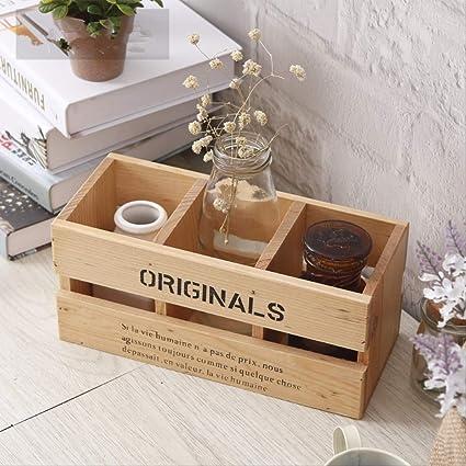 Kzfs Home caja de madera maciza para mandos a distancia, soporte para bolígrafos, 3 capas, organizador de oficina, color de registro: Amazon.es: Oficina y papelería