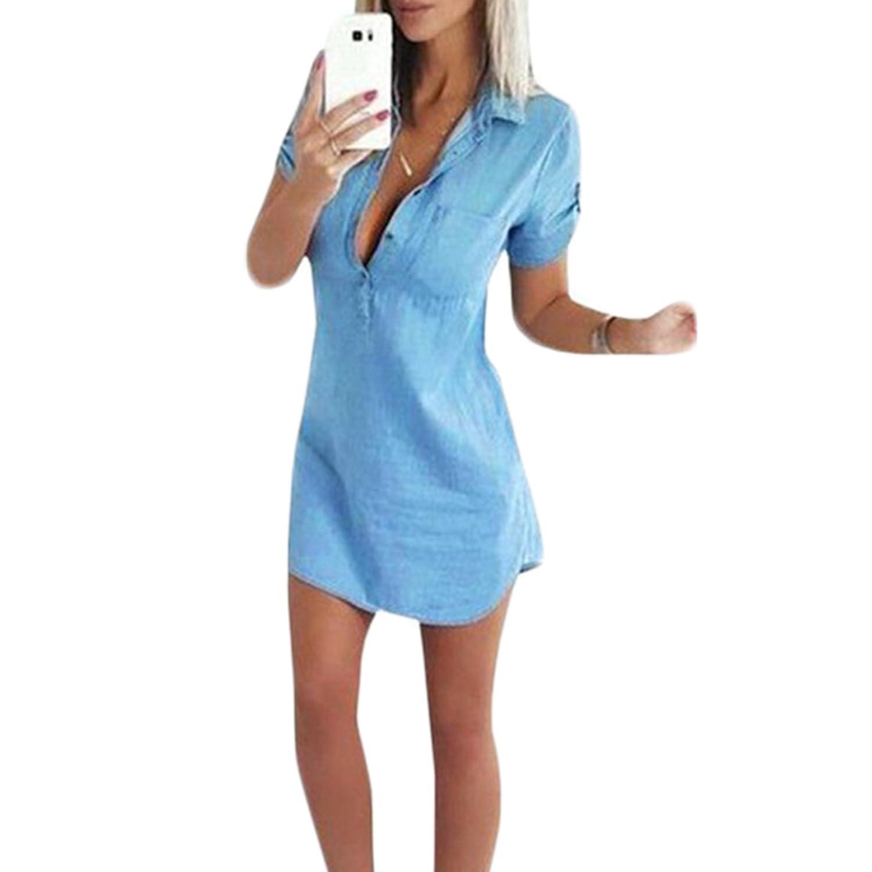 Damen V-Ausschnitt Kragen Kurzarm Tasche Jeans Knopf Shirt Kleid Sommerkleider Jeanskleider Shirtkleider Petticoat Kleider