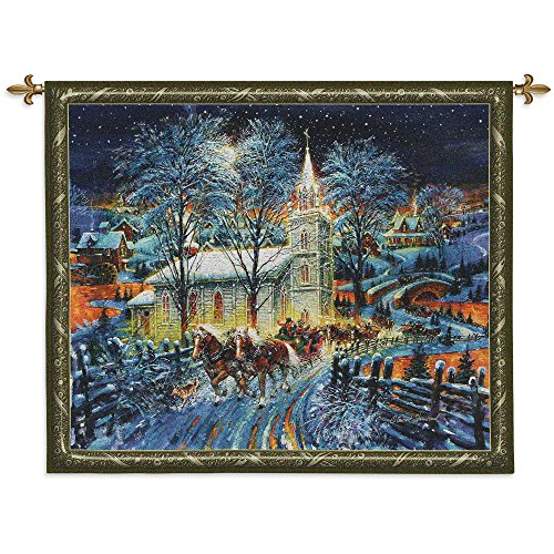(Midnight Clear - Woven Tapestry Wall Art Hanging for Home Living Room & Office Decor - Christmas Horse Drawn Carriage Sleigh Snowy Road Steeple Church Holiday Decor - 100% Cotton - USA 43X53)