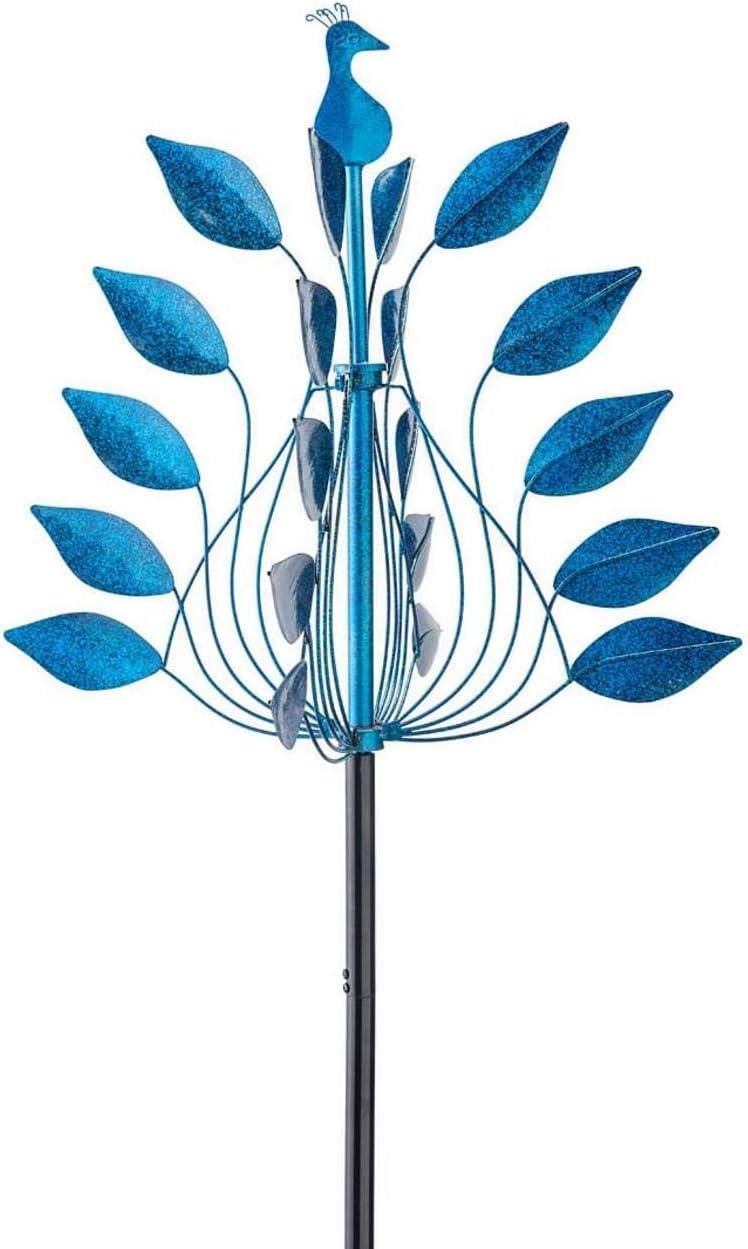 Cobalt Leaves Metal Peacock Wind Spinner - 23 Dia. x 84 H