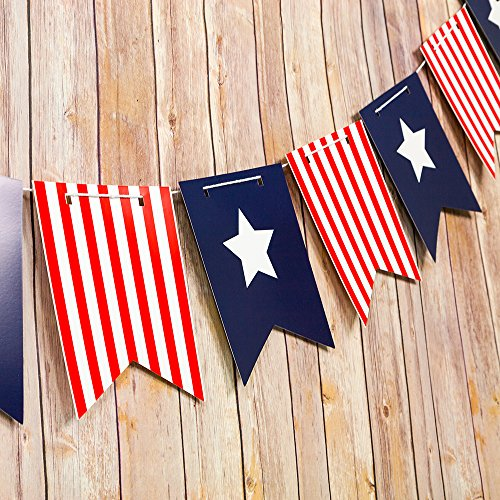 4th Of July Banners (PaperLanternStore.com 4th of July Red, White and Blue Guidon Flag Pennant Banner Garland (11FT))