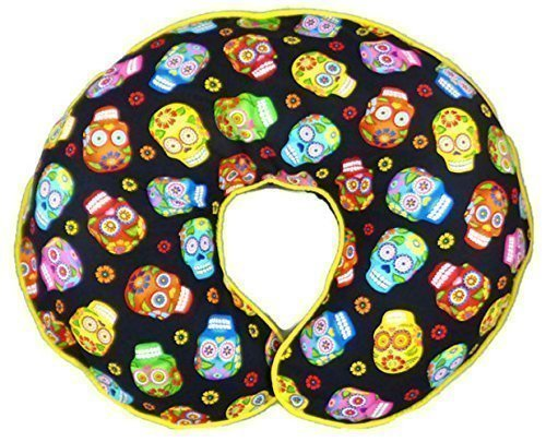 Nursing Pillow Slipcover Sugar Skulls and Flowers for Baby Boy or Girl by Mommy's Little RockStar