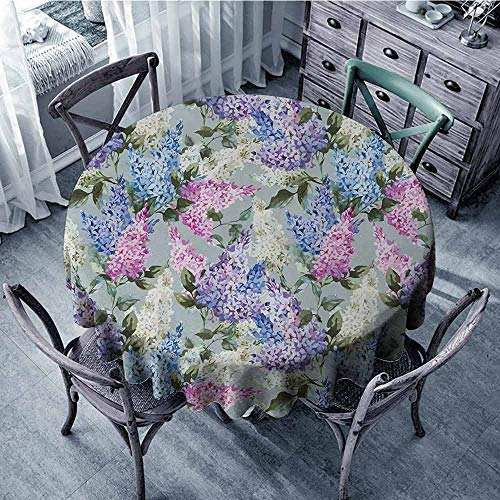 ScottDecor Patio Round Tablecloth Mauve,Various Mix Hyacinth Garden with Flowers and Leaf Branches Summer Botanic Plants,Lilac Fuchsia Tassel Tablecloth Diameter 70