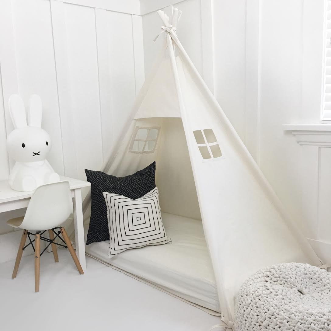 Domestic Objects Handmade All Natural Cotton Canopy Play Tent Toddler Bed. Crib Size. With Doors!