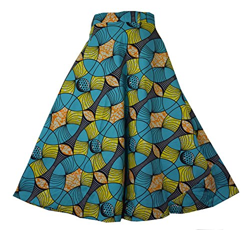 DecoraApparel Wrap Around Skirts African Wax Print Women's Flared Skirt Cotton Maxi Bright Colors (SeaFoam (Color Cotton Skirts)