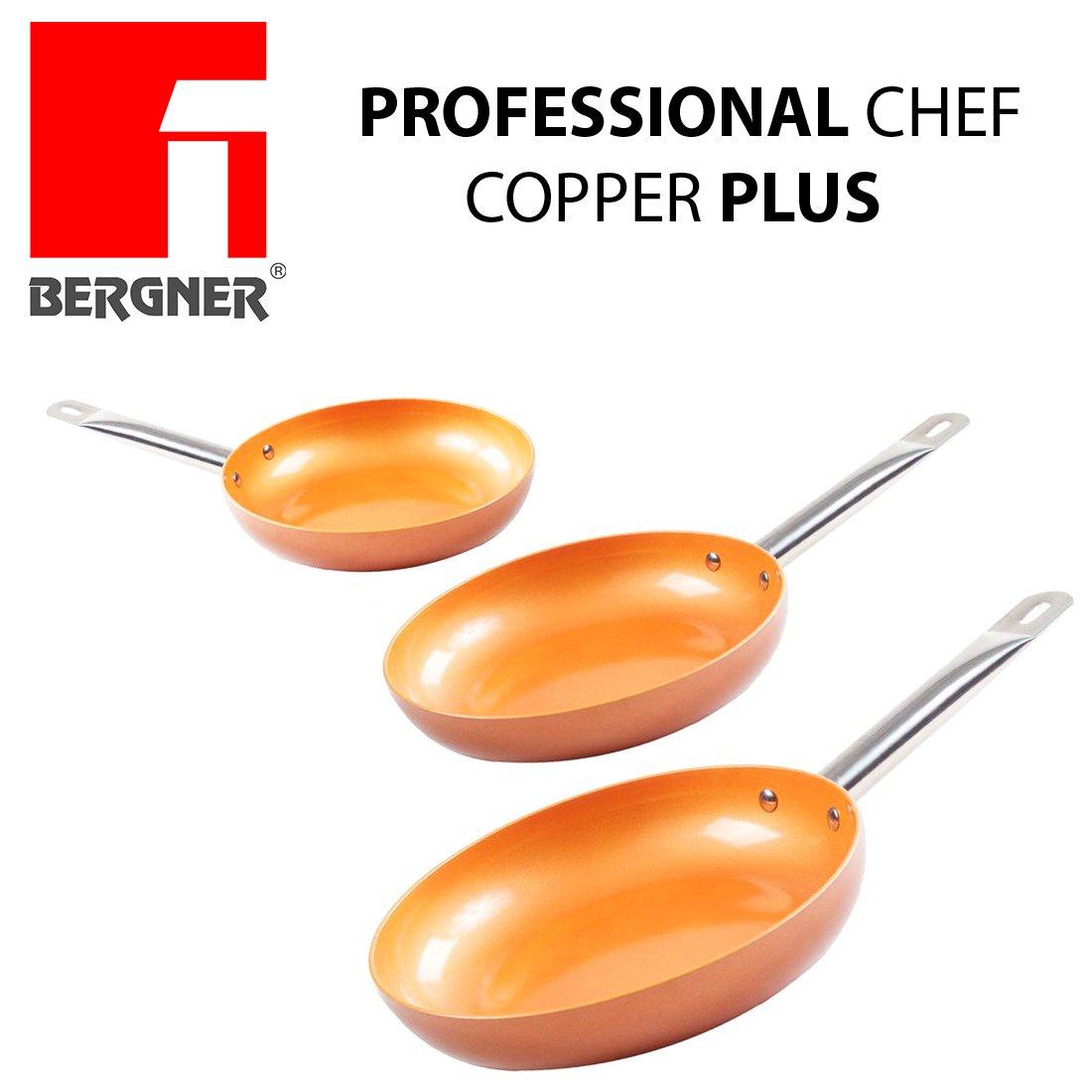 Bergner Innovador revestimiento antiadherente sin PFOA Fondo id/óneo para cocina de inducci/ón 1165. muy resistentesDi/ámetro de 20//24//28 cm Juego de 3 sartenes Chef Copper Plus de cobre