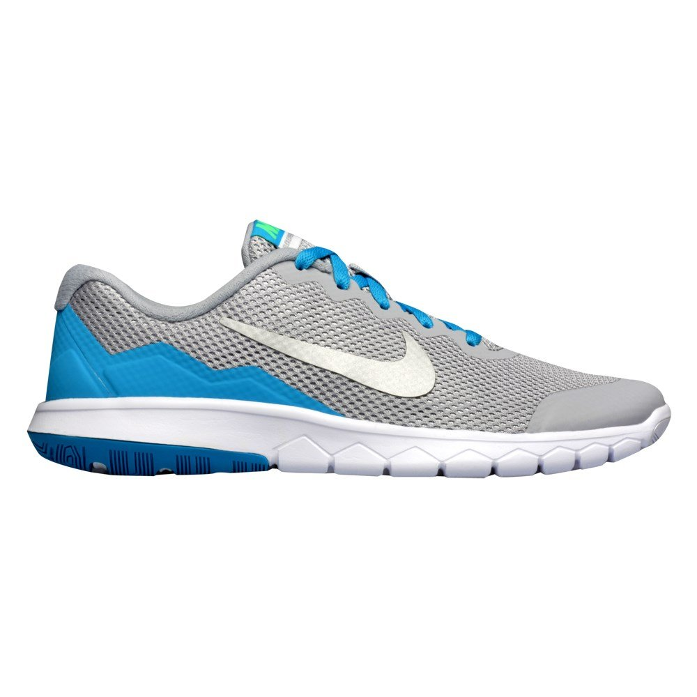 GS Running Shoes NIKE Boys Flex Experience 4 4 M US Big Kid, Wolf Grey//Silver//Lagoon White