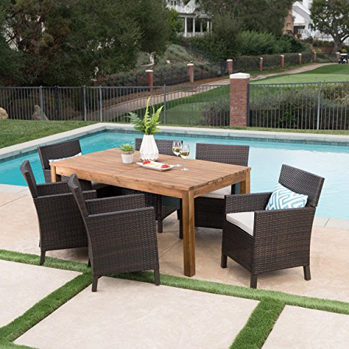 Great Deal Furniture Lilith Outdoor 7 Piece Multibrown Wicker Dining Set with Teak Finished Acacia Wood Expandable Dining Table and Light Brown Water Resistant (Expandable Teak Dining Table)