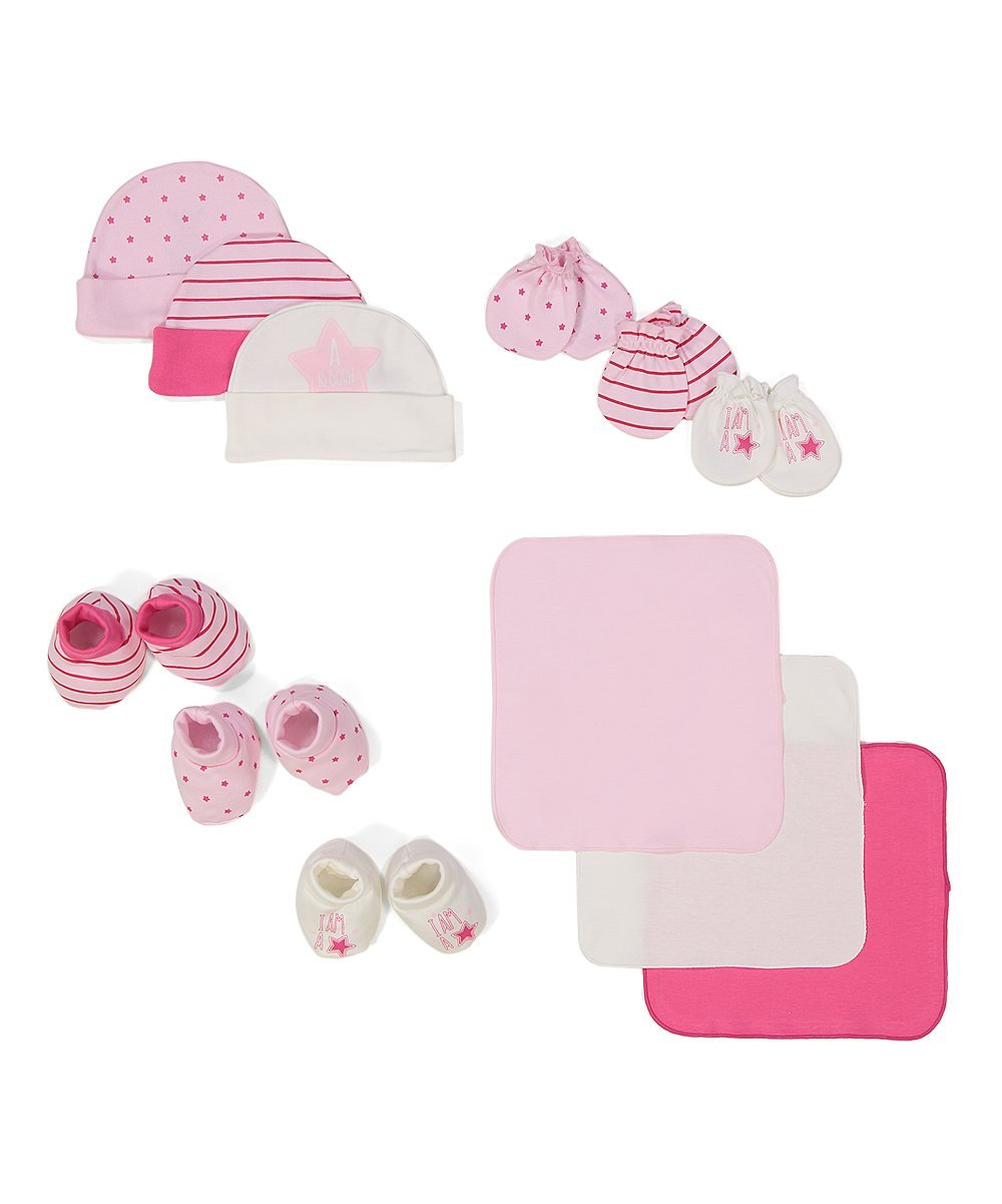 Baby shower gift for girls pink set baby girl gift set gifts caps washcloths booties mittens BornCare brand 12 Pack, 0-6 Months by BornCare (Image #1)