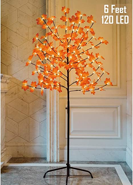 Twinkle Star Lighted Maple Tree 6 Feet 120 Led Artificial Tree With Lights For Thanksgiving Harvest Fall Festival Home Party Decoration Home Kitchen