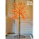 Twinkle Star Lighted Maple Tree, 6 Feet 120 LED Artificial Tree with Lights for Thanksgiving Harvest Fall Festival Home…
