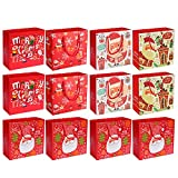 12 PCS Christmas Series Kraft Paper Gift Bags Xmas Craft Party Favor Bags 25 x 20 x 10cm Random Style