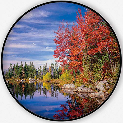 ALUONI Peaceful Colorful Autumn Fall Foliage Jericho Lake Colorful Round Mat, Cute Floor Mat,New England for Kid's Room,6'Round (Best Places To See Fall Foliage In New England)