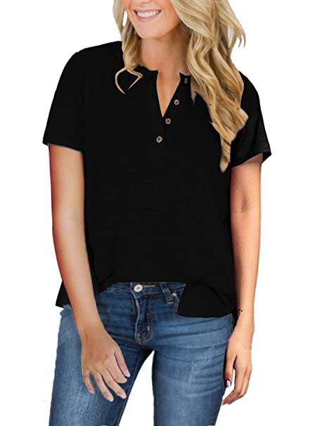 b54e47b8 Womens Henley Tops Plus Size Short Sleeve Summer Long Sleeve Shirts Fall V  Neck Button Down