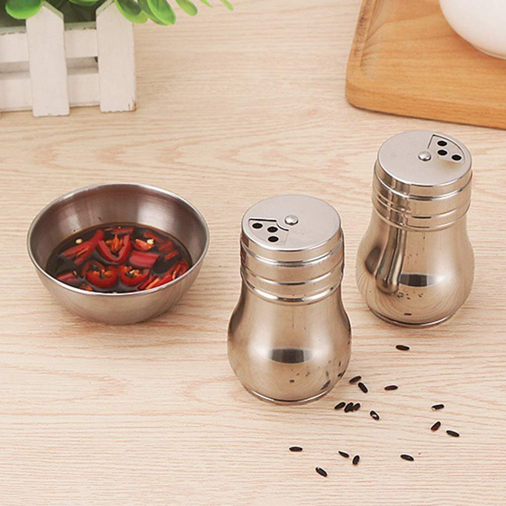 UPKOCH 4pcs Stainless Steel Sauce Dishes Mini Round Seasoning Dishes Sushi Dipping Bowl Saucers Bowl Appetizer Plates