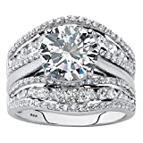 Platinum over Sterling Silver Round Cubic Zirconia Multi Row Jacket Wedding Ring Set Size 6