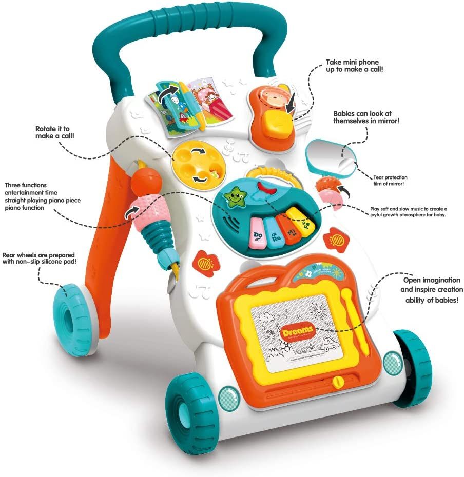 Activity Center Development Toy with Lights and Sound Effects Push Learning Walker with Deceleration Wheels Albott Baby Walker with Music Piano
