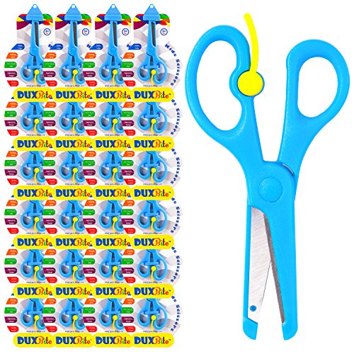 DUXBITE Kids School Safety 5 Inch Scissors | Bulk of 24 – Blunt Tip, Safe Blades & Training Lever–Large Finger Loops Comfort & Control – Perfect for Crafts, Cutting Paper & Classroom Use – Ages 3 +