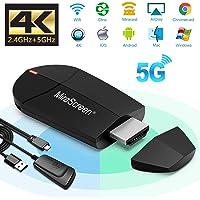 Miracast AirPlay DLNA Écran WiFi 2,4 G + 5 G sans Fil 4K HDMI Adaptateur Mini Appareil de Miroir Support Miracast AirPlay DLNA pour Smartphones Android/PC/MacBook sur Moniteur TV/projecteur