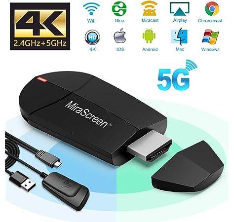 iBosi Cheng WiFi Display Dongle, 2.4G/5G HDMI Adaptador, Mini Aparato Pantalla Inalámbrico Receptor ,1080P HDMI TV Dongle Miracast para Android / iOS / Mac / Windows / Mac OS: Amazon.es: Electrónica