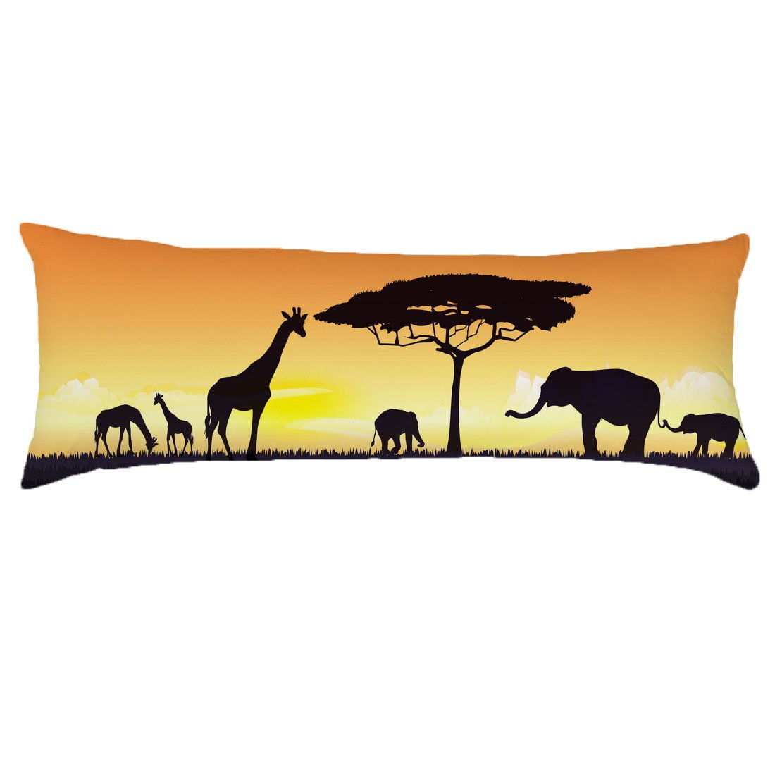 Alicia Haines Home Decorative Pillow Cover cotton Long Body Pillow Case 20x54 inch (The animals under the dusk)