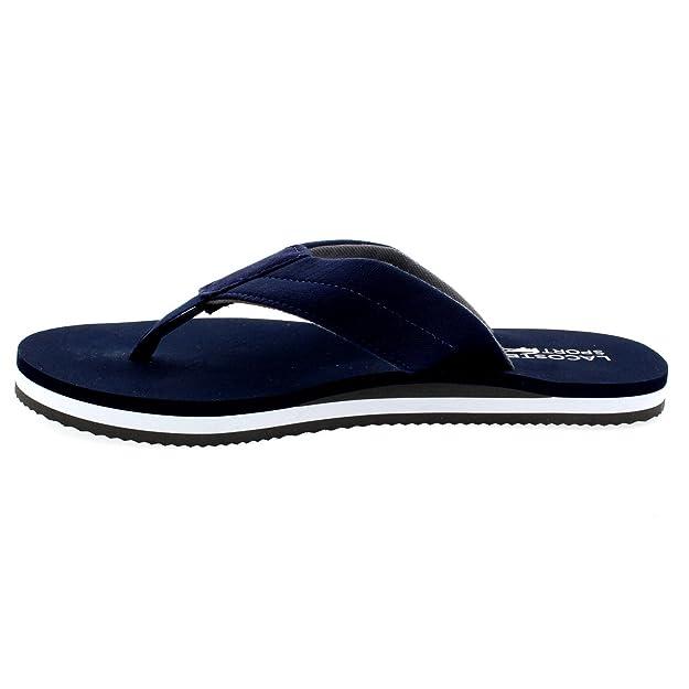 12ee4dba76 Lacoste Homme Randle Toile schlüpfen Plage Tongs Sandales - - Bleu Marine/ Gris,: Amazon.fr: Chaussures et Sacs