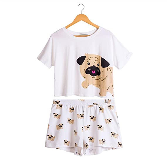 Coac3 Cute Pajama Set Women Pug Print 2 Pieces Set Crop Top + Shorts  Elastic Waist Pajamas Loose Home Wear Lounge at Amazon Women s Clothing  store  4634d3ef0