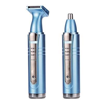 Électrique nez cheveux tondeuse temples confort nettoyage réparation nasale cheveux temples tête de couteau laver deux dans un cycle bleu charge