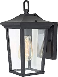 Outdoor Wall Lantern Exterior Porch Light Fixtures with Clear Glass Shades for Patio, Garden, Garage, Front Door, Black
