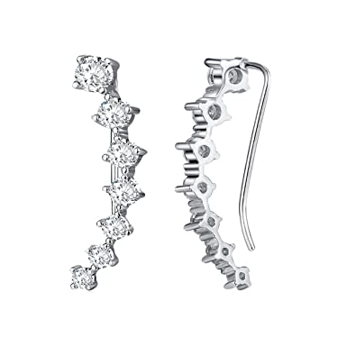 be3247dae Cubic Zirconia Cuff Crawler Earrings,Hypoallergenic 18K White Gold Plated  Climber Ear Cuffs For Women Girls: Amazon.co.uk: Jewellery