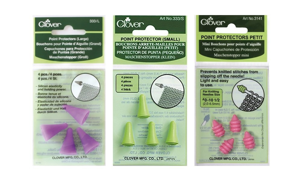 Clover Knitting, Quilting, Sewing and Crocheting Needle Point Protectors and Stoppers Bundle - Large (2 pairs), Small (2 pairs), and Petite (2 pairs) Clover Needlecraft